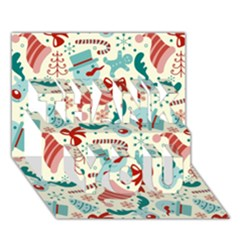 Pattern Christmas Elements Seamless Vector       Thank You 3d Greeting Card (7x5)