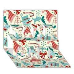 Pattern Christmas Elements Seamless Vector       Take Care 3d Greeting Card (7x5)