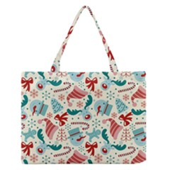 Pattern Christmas Elements Seamless Vector       Medium Zipper Tote Bag