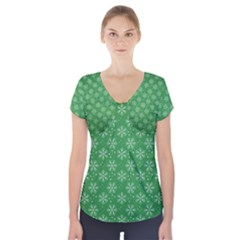 Snowflake Vector Pattern Short Sleeve Front Detail Top