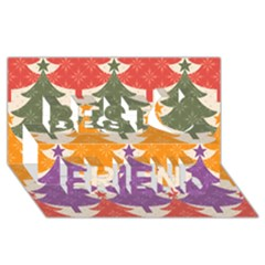 Tree Christmas Pattern Best Friends 3d Greeting Card (8x4)