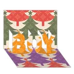 Tree Christmas Pattern Boy 3d Greeting Card (7x5)