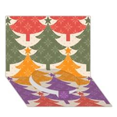 Tree Christmas Pattern Circle Bottom 3D Greeting Card (7x5)