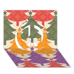 Tree Christmas Pattern Peace Sign 3D Greeting Card (7x5)