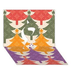 Tree Christmas Pattern Ribbon 3d Greeting Card (7x5)