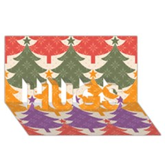Tree Christmas Pattern Hugs 3d Greeting Card (8x4)