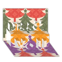Tree Christmas Pattern Miss You 3d Greeting Card (7x5)