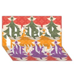 Tree Christmas Pattern Happy New Year 3d Greeting Card (8x4)