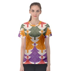 Tree Christmas Pattern Women s Sport Mesh Tee