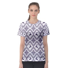 Simple Christmas Pattern Seamless Vectors  Women s Sport Mesh Tee