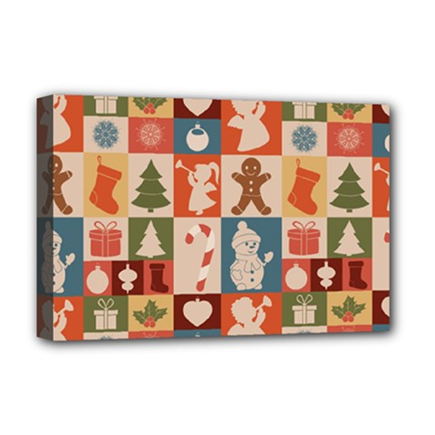 Xmas  Cute Christmas Seamless Pattern Deluxe Canvas 18  X 12