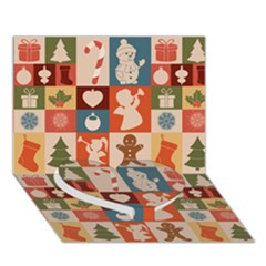 Xmas  Cute Christmas Seamless Pattern Heart Bottom 3D Greeting Card (7x5)