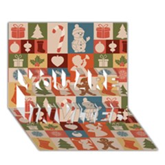 Xmas  Cute Christmas Seamless Pattern You Are Invited 3d Greeting Card (7x5)