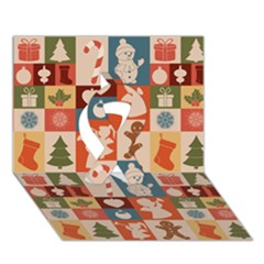 Xmas  Cute Christmas Seamless Pattern Ribbon 3d Greeting Card (7x5)