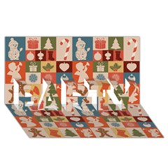 Xmas  Cute Christmas Seamless Pattern Party 3d Greeting Card (8x4)