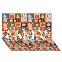 Xmas  Cute Christmas Seamless Pattern Sorry 3d Greeting Card (8x4)