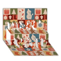 Xmas  Cute Christmas Seamless Pattern Miss You 3d Greeting Card (7x5)