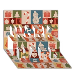 Xmas  Cute Christmas Seamless Pattern Work Hard 3d Greeting Card (7x5)