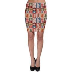 Xmas  Cute Christmas Seamless Pattern Bodycon Skirt