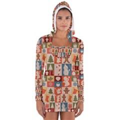Xmas  Cute Christmas Seamless Pattern Women s Long Sleeve Hooded T Shirt