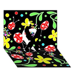 Flowers And Ladybugs Ribbon 3d Greeting Card (7x5)
