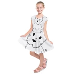 Westie Cartoon Kids  Short Sleeve Dress