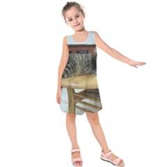 Maine Coon Laying 2 Kids  Sleeveless Dress