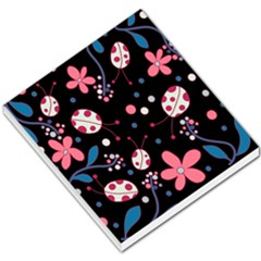 Pink ladybugs and flowers  Small Memo Pads