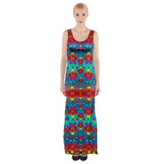 Peace Flowers And Rainbows In The Sky Maxi Thigh Split Dress