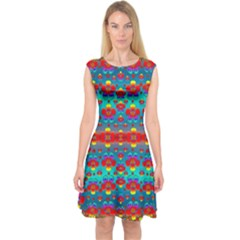 Peace Flowers And Rainbows In The Sky Capsleeve Midi Dress