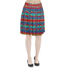 Peace Flowers And Rainbows In The Sky Pleated Skirt