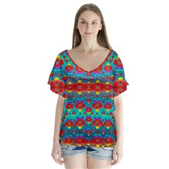 Peace Flowers And Rainbows In The Sky Flutter Sleeve Top
