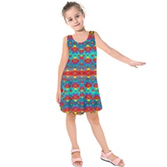 Peace Flowers And Rainbows In The Sky Kids  Sleeveless Dress