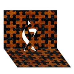 Puzzle1 Black Marble & Brown Marble Ribbon 3d Greeting Card (7x5)