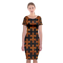 Puzzle1 Black Marble & Brown Marble Classic Short Sleeve Midi Dress