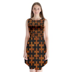 Puzzle1 Black Marble & Brown Marble Sleeveless Chiffon Dress