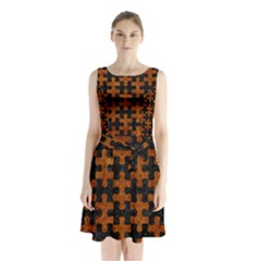 Puzzle1 Black Marble & Brown Marble Sleeveless Waist Tie Chiffon Dress