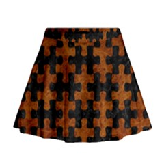 Puzzle1 Black Marble & Brown Marble Mini Flare Skirt