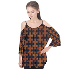 Puzzle1 Black Marble & Brown Marble Flutter Sleeve Tee