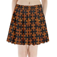 Puzzle1 Black Marble & Brown Marble Pleated Mini Skirt