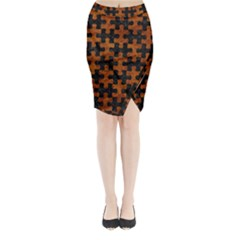 Puzzle1 Black Marble & Brown Marble Midi Wrap Pencil Skirt