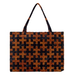 Puzzle1 Black Marble & Brown Marble Medium Tote Bag
