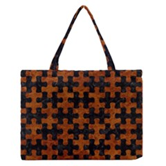 Puzzle1 Black Marble & Brown Marble Medium Zipper Tote Bag