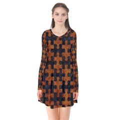 Puzzle1 Black Marble & Brown Marble Long Sleeve V Neck Flare Dress