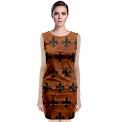 Royal1 Black Marble & Brown Marble Classic Sleeveless Midi Dress