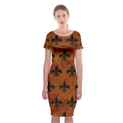 Royal1 Black Marble & Brown Marble Classic Short Sleeve Midi Dress