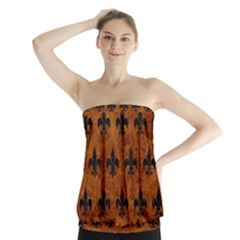 Royal1 Black Marble & Brown Marble Strapless Top