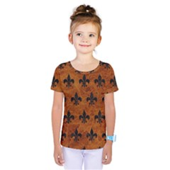 Royal1 Black Marble & Brown Marble Kids  One Piece Tee