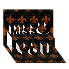 Royal1 Black Marble & Brown Marble (r) Miss You 3d Greeting Card (7x5)