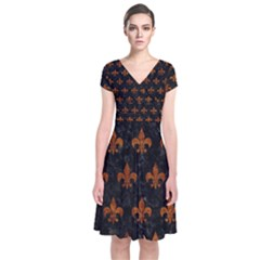 Royal1 Black Marble & Brown Marble (r) Short Sleeve Front Wrap Dress